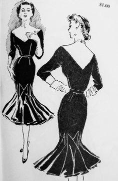 1950s BEYOND FABULOUS Cocktail Evening Dress Pattern SPADEA 1036 American Designer JO COPELAND Party Goer Dress Plunging V Neckline Glove Fitting Slim Dramatic Flared Hemline Size 10 Vintage Sewing Pattern