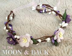 Purple & Lilac Rustic Woodland Floral Crown by MoonandBackProps