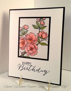 Stamp & color image - cover entire piece of card stock with Versamerk ink, add iridescent ice emboss powder & emboss. Pretty!