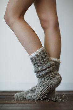 Chunky Slipper Socks - Lace Trim