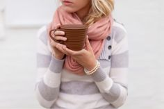 soft grey & white striped sweater + pink circle scarf - So cozy! I love it. :)