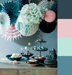 Color palette of the week- navy, mint, teal & pink...delightfully sweet