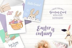 Easter Bunny Greeting Cards by Teneresa on @creativemarket