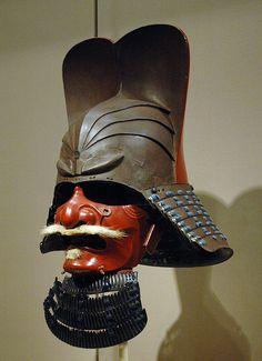 Images of the Samurai, Japan& Warriors: Samurai mask with mustache and throat-guard, Asian Art Museum of San Francisco Samurai Helmet, Samurai Armor, Samourai Tattoo, A Knight's Tale, Asian Art Museum, Japanese Warrior, Fantasy Armor, Art Graphique, Military History