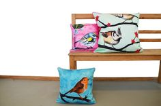 Items similar to Cushion cover for throw pillow with bird - English Robin in blue - // on Etsy Cushions, Throw Pillows, Bird, Cover, Handmade Gifts, Inspiration, Etsy, Furniture, Robin