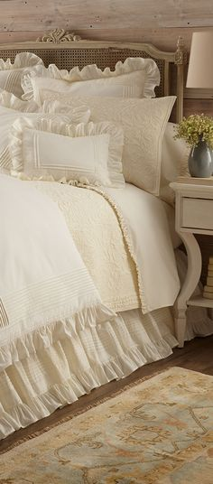 Shop bed and bath at Buyer Select. Our curated selection includes beautiful duvet covers, designer, and luxury bedding sets as well as sumptuous linens. Bedroom Bed, Dream Bedroom, Master Bedroom, Bedroom Decor, White Bedroom, Bed Sets, White Cottage, Cozy Corner, Shabby Chic Homes