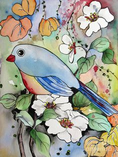 Chubby Bird Watercolor Painting Painting by Fei Liu - Chubby Bird Watercolor Painting Fine Art Prints and Posters for Sale