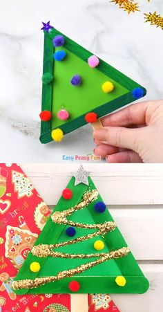 Christmas tree crafts from the craft sticks - .- Weihnachtsbaum-Handwerk von den Handwerks-Stöcken – Christmas tree crafts from the craft sticks – - Kids Crafts, Christmas Arts And Crafts, Christmas Crafts For Toddlers, Winter Crafts For Kids, Craft Stick Crafts, Toddler Crafts, Kids Christmas, Craft Sticks, Christmas Trees