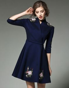 #VIPme △ Dark Blue Floral Embroidery Belted A-line Short Dress. VIPme.com offers quality Dark Blue, FWAYSBY A-Line Dresses at affordable prices.