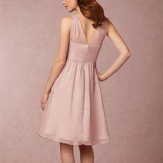 Simple dusty pink v-neck knee-length wedding guest dress, new bridesmaid dress, fs938
