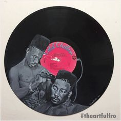 Another #bigdaddykane vinyl art painting  piece from @theartfulfro  only this time this piece has been commissioned for the infamous @chipshop_bxtn. With @officialbigdaddykane and @johnnyfamousvip aka Scoob Lover on the album 'Long Live The Kane' #theartfulfro #chipshopbrixton #chipshopbxtn #artmeetsmusic  #itchfm #hiphopradio