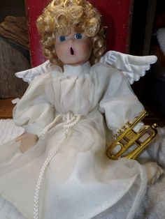 Angel Doll Porcelain Cloth Vintage Open Mouth Doll in Original Outfit 1994 ANCO