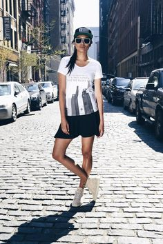 CONFLICTS SHORT CUT - powerful design on even more powerful woman beautiful combination shot on streets of New York. Become ABIDELESS at our online store with WORLDWIDE SHIPPING! #dope #style #beauty #model #soho #streetstyle #clothes #white #tshirt #model #photoshooting #nyc #newyork #manhattan