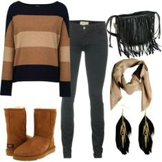 ugg outfit, minus all the bs. Just the shoes, shirt, purse and jeans www.yi5 .org #uggs #xmas_present #xmas_gifts