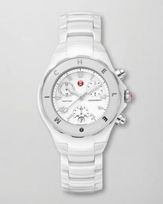 Tahitian Ceramic Watch, White by Michele Watches at Neiman Marcus.
