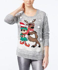 Hooked Up by IOT Juniors' Elf & Reindeer Holiday Sweater | macys.com