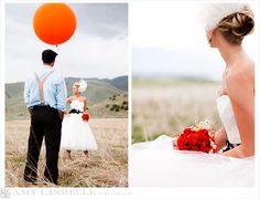 orange balloon & circus wedding amazingness