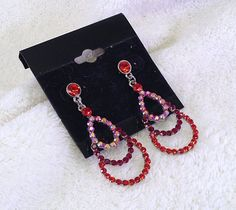 Siam Red Crystals with AB Accent Stones on Small Chandelier Earrings