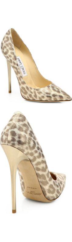 JIMMY CHOO                                                                                                                              Anouk Leopard-Print Glimmer Leather Pumps                                                                                                                             ❦~HeadOverHeels~❦