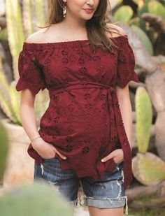 Shop the Look - Embroidered Off The Shoulder Maternity Top + Side Panel Roll Hem Maternity Shorts. Stylish and comfortable spring/summer outfit, perfect for the weekend. Cute Maternity Outfits, Maternity Shorts, Stylish Maternity, Maternity Wear, Maternity Tops, Maternity Fashion, Maternity Dresses, Maternity Clothes Spring, Target Maternity