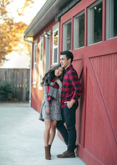 His & hers outfit idea for christmas holiday card or winter engagement couple photos! All outfit details are on the blog