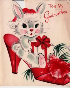 Vintage 1950's For My Godmother Bunny Stiletto by poshtottydesignz