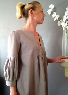 Dress or Tunic My Garden in grege taupe linen by IsabelAmyo