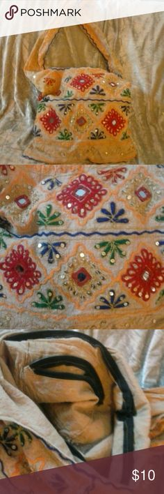 🎁SALE🎁BOHO LN Embroidered Bag w/Bling! All fabric, mirror and sequins.  Mustard color Fabric decorated with mirrors and sequins  embroidery. Pre-loved. Bags Hobos