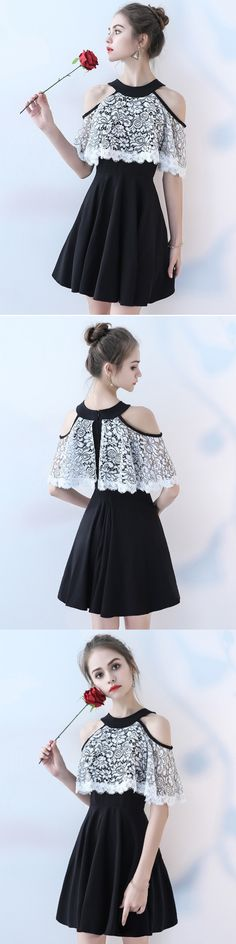 A-line Scoop Short/Mini Sleeveless Chiffon Homecoming Dress/Short Dress # VB524 #fashion #black #lace #simple #popular #prom #Homecoming #Evening #cheap
