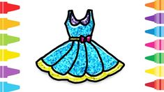 Glitter Dress how to coloring and drawing for Kids & Color pages Cute Easy Drawings, Dress Drawing, Glitter Dress, Fun At Work, Drawing For Kids, Coloring For Kids, Cute Dresses, Make It Yourself, Disney Characters