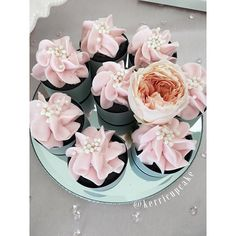Gorgeous cupcakes #wedding #cupcakes #pink #ruffles #mirrors #swoon #bellemer #sweet #sweetindulgence #villageindulgence