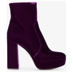 Prada 115 Velvet Platform Ankle Boots ($1,070) ❤ liked on Polyvore featuring shoes, boots, ankle booties, ankle boots, platform bootie, velvet booties, velvet boots and purple booties