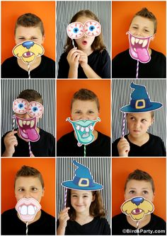 DIY Halloween Photo Booth Props and Ideas with Printables! Such an easy and fun way to celebrate Halloween! Diy Halloween, Halloween Fotos, Theme Halloween, Halloween Celebration, Halloween Birthday, Holidays Halloween, Halloween Decorations, Halloween Photo Booth Props, Diy Party Photo Booth