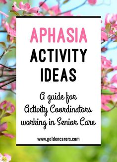 Aphasia Activity Ideas for Activity Coordinators: Aphasia is a communication disorder that results from damage or injury to the brain. A person with aphasia may have trouble understanding, speaking, reading, or writing. Group Therapy Activities, Occupational Therapy Activities, Elderly Activities, Dementia Activities, Senior Activities, Cognitive Activities, Senior Games, Exercise Activities, Play Therapy