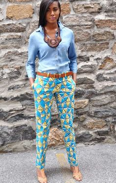 African Print Pants with a denim shirt African Inspired Fashion, African Print Fashion, Africa Fashion, Fashion Prints, African Print Pants, African Print Dresses, African Dress, African Prints, African Attire