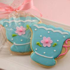 Tea Cup Sugar Cookie Favors (12 cookies, bagged  bowed). $36.00, via Etsy.