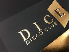 Cartões em relevo, com gravação a quente, cor ouro, DICE dico club, Vila Moura