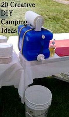 DIY hand washing station perfect for camping or for any long term outdoor activity. Link has more Creative Camping DIY Projects and Clever Ideas Diy Camping, Camping Ideas, Camping Hacks, Camping Checklist, Camping Survival, Family Camping, Outdoor Camping, Camping Essentials, Camping Supplies