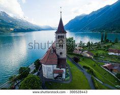 Brienz Church, view from a drone, Interlaken, Switzerland - stock photo
