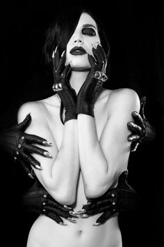 ($805) Majesty Black, 'Guild Gloves' with Stiletto Nails in Silver. #Majestyblack #LeatherGloves #fashion #gloves Photo: Sequoia Emmanuelle Model: Alexandra Mathews MUA: Barbara Yniguez-Redman