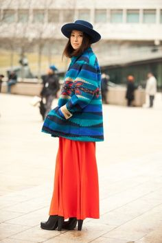 Hye Yeon, Steven Alan intern, is no style newbie in these colorful Southwest-printed ensemble.     Photographed by Mark Iantosca