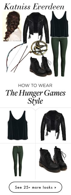 """Movies: Katniss Everdeen"" by samantha-3112 on Polyvore featuring H&M, MANGO, Disney, Hungergames and katniss"