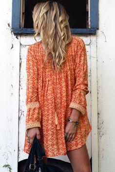 Lily tunic in Orange Sahara by Arnhem Clothing. Bright, easy & very pretty!