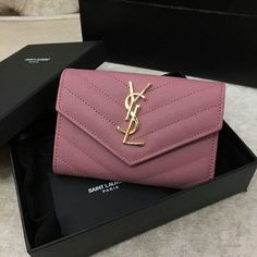 2016 YSL Small Monogram Envelope Wallet in Pink Grain De Poudre Textured Matelasse Leather