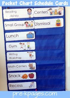 Preschool and pre-k daily picture schedule cards for pocket chart. Help create smooth transitions in your preschool or kindergarten classroom. Pre K Activities, Classroom Activities, Classroom Organization, Classroom Management, Preschool Activities, Preschool Schedule, Beginning Of School, Pre School, Preschool Transitions