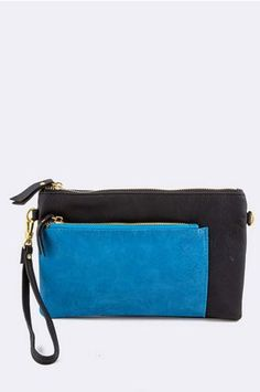 Black and Blue Pocket Clutch