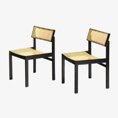 Cane and black lacquer dining chairs, Model 3100 by Willy Guhl for Dietiker, 1970s