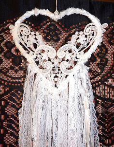 HANDMADE GORGEOUS WHITE HEART BRIDAL WEDDING GLITTER LOVE BOHO DREAM CATCHER