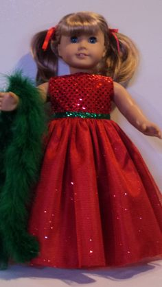 American Girl Doll Clothes  Christmas Gown & Boa by susiestitchit, $17.00