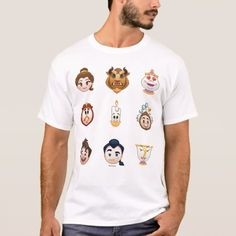 Express yourself with this super cute Beauty and the Beast emoji featuring all your favorite characters. Size: Adult S. Emoji Characters, Sad Faces, Cute Beauty, Beauty And The Beast, Fitness Models, Super Cute, Casual, Mens Tops, T Shirt